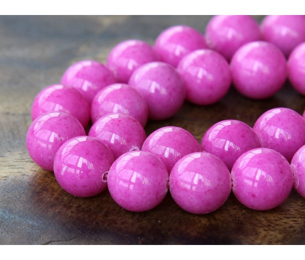 Hibiscus Pink Mountain Jade Beads, 12mm Round