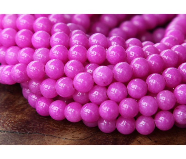 Hibiscus Pink Mountain Jade Beads, 4mm Round