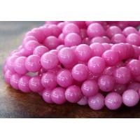 Hibiscus Pink Mountain Jade Beads, 6mm Round