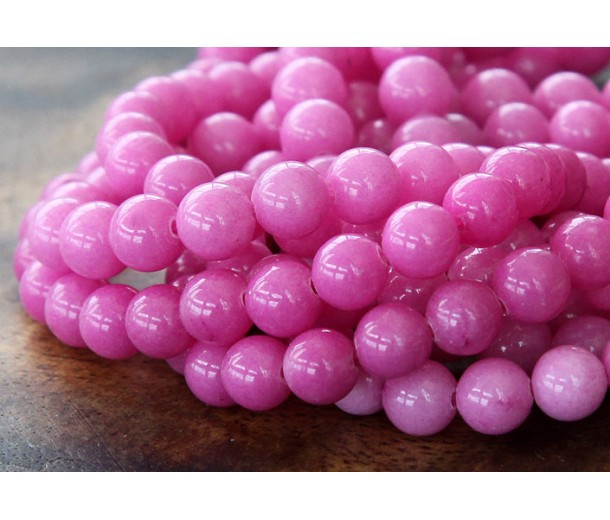 Hibiscus Pink Mountain Jade Beads, 6mm Round