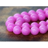 Hibiscus Pink Mountain Jade Beads, 8mm Round