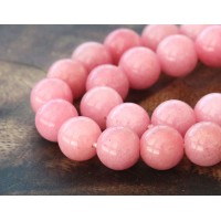 Carnation Pink Mountain Jade Beads, 10mm Round