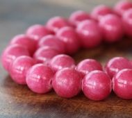 Berry Pink Mountain Jade Beads, 10mm Round