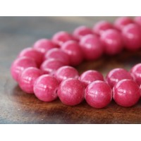 Berry Pink Mountain Jade Beads, 10mm Round