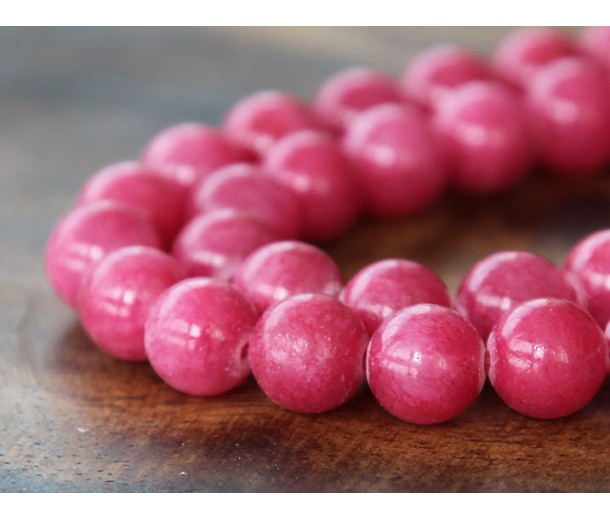 Berry Pink Mountain Jade Beads, 8mm Round