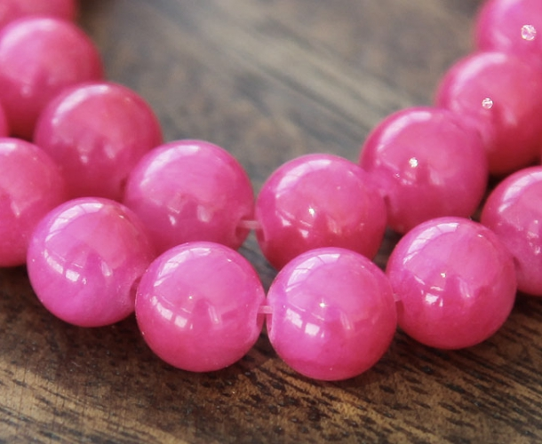 Berry Pink Mountain Jade Beads 6mm Round Golden Age Beads