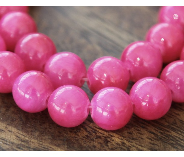 Berry Pink Mountain Jade Beads, 6mm Round
