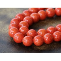 Red Orange Mountain Jade Beads, 10mm Round
