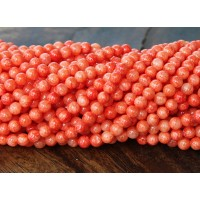Red Orange Mountain Jade Beads, 6mm Round