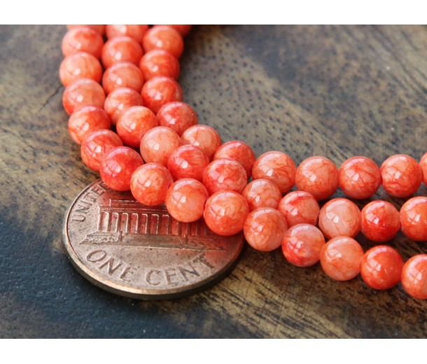 Red Orange Mountain Jade Beads, 4mm Round