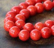 Red Orange Mountain Jade Beads, 8mm Round