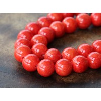 Red Orange Mountain Jade Beads, 8mm Round