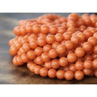 Orange Mountain Jade Beads, 4mm Round