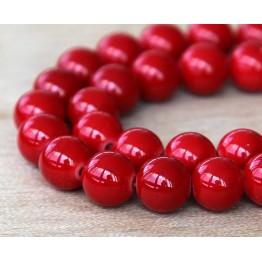 Bright Red Mountain Jade Beads, 12mm Round