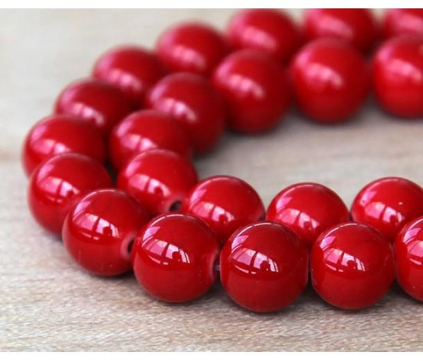 Bright Red Mountain Jade Beads, 10mm Round