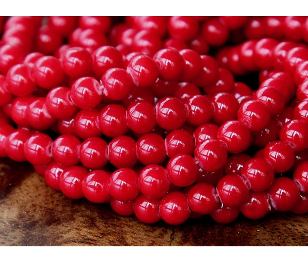 Bright Red Mountain Jade Beads, 4mm Round
