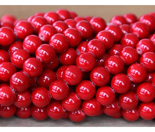 Bright Red Mountain Jade Beads, 6mm Round