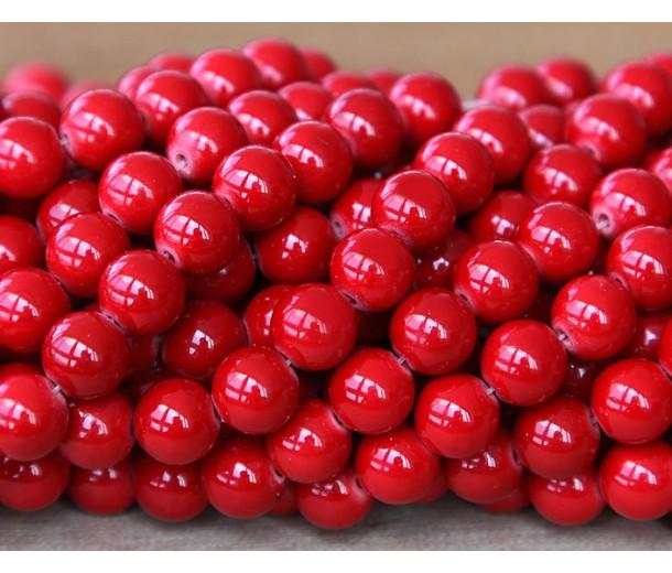 Bright Red Mountain Jade Beads, 6mm Round