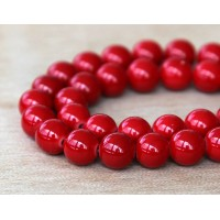 Bright Red Mountain Jade Beads, 8mm Round