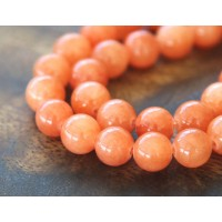 Salmon Orange Mountain Jade Beads, 8mm Round