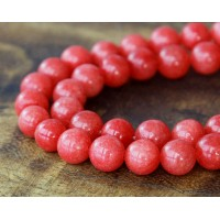 Tomato Red Mountain Jade Beads, 8mm Round