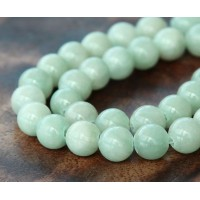 Light Moss Green Mountain Jade Beads, 10mm Round