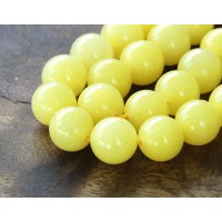 Lemon Yellow Mountain Jade Beads, 12mm Round