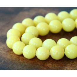 Lemon Yellow Mountain Jade Beads, 6mm Round