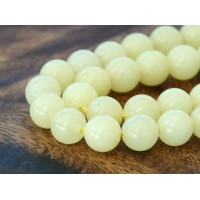 Pale Lemon Yellow Mountain Jade Beads, 10mm Round