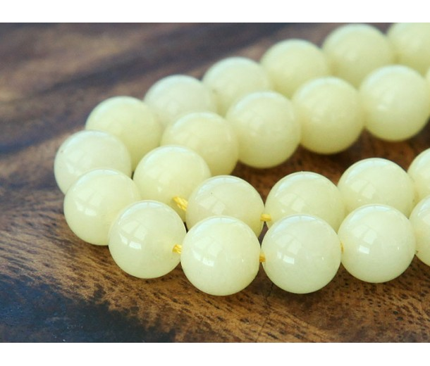 Pale Lemon Yellow Mountain Jade Beads, 10mm Round