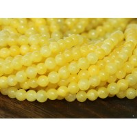 Yellow Mountain Jade Beads, 4mm Round