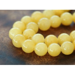 Yellow Mountain Jade Beads, 8mm Round