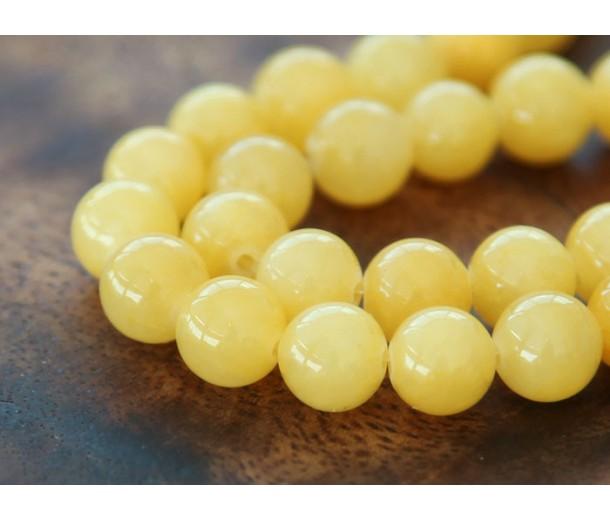 Yellow Mountain Jade Beads, 8mm Round