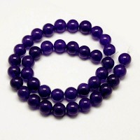 Eggplant Purple Semi-Transparent Jade Beads, 8mm Round