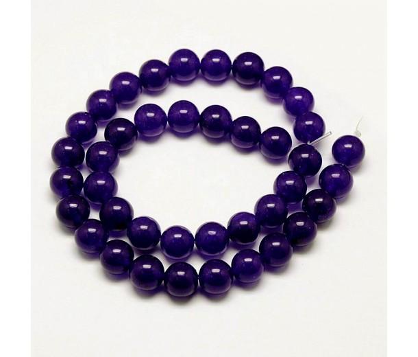 Eggplant Purple Semi-Transparent Jade Beads, 8mm Round