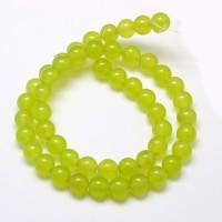 Apple Green Semi-Transparent Jade Beads, 8mm Round
