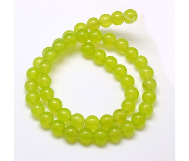 Apple Green Semi-Transparent Jade Beads, 8mm Round