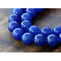 Royal Blue Semi-Transparent Jade Beads, 12mm Round