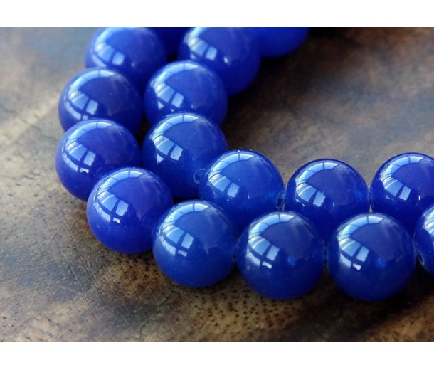 Royal Blue Semi-Transparent Jade Beads, 10mm Round