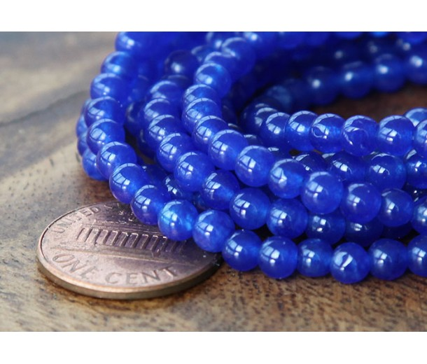 Royal Blue Semi-Transparent Jade Beads, 4mm Round