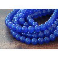Royal Blue Semi-Transparent Jade Beads, 6mm Round