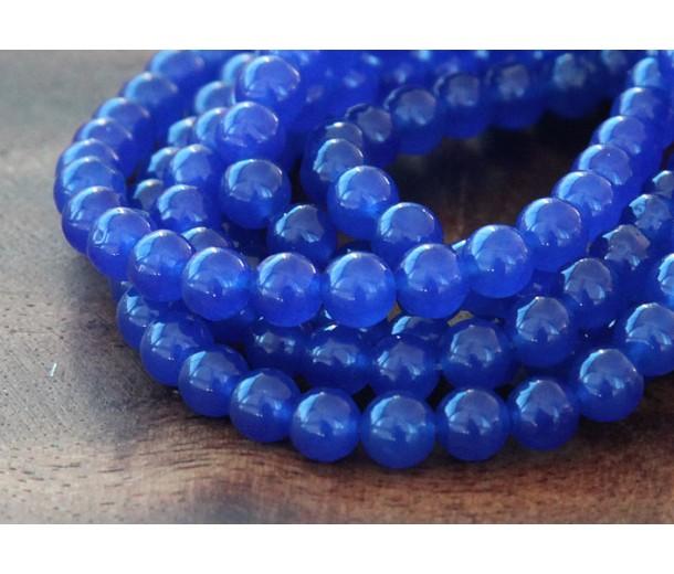 Royal Blue Semi-Transparent Jade Beads, 6mm Round