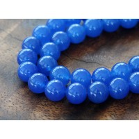 Royal Blue Semi-Transparent Jade Beads, 8mm Round