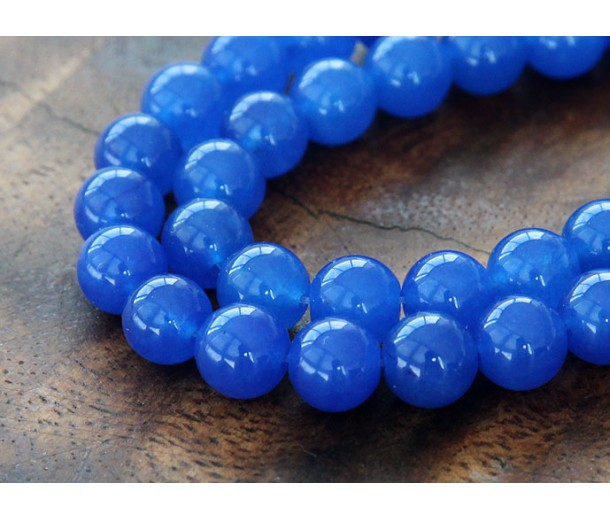 Royal Blue Semi-Transparent Jade Beads, 8mm Round