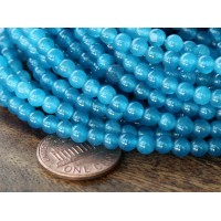 Denim Blue Semi-Transparent Jade Beads, 4mm Round