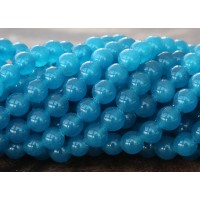 Denim Blue Semi-Transparent Jade Beads, 6mm Round