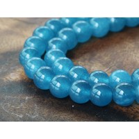 Denim Blue Semi-Transparent Jade Beads, 8mm Round