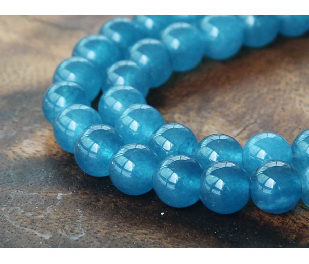Denim Blue Semi-Transparent Jade Beads, 8mm Round