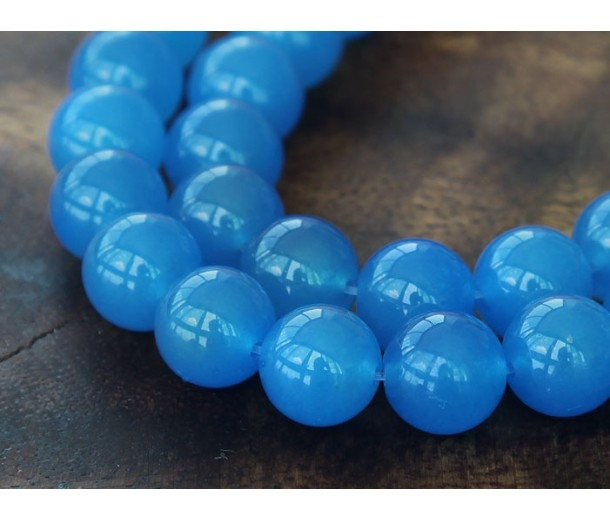 Medium Blue Semi-Transparent Jade Beads, 10mm Round