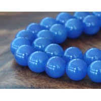 Medium Blue Semi-Transparent Jade Beads, 12mm Round